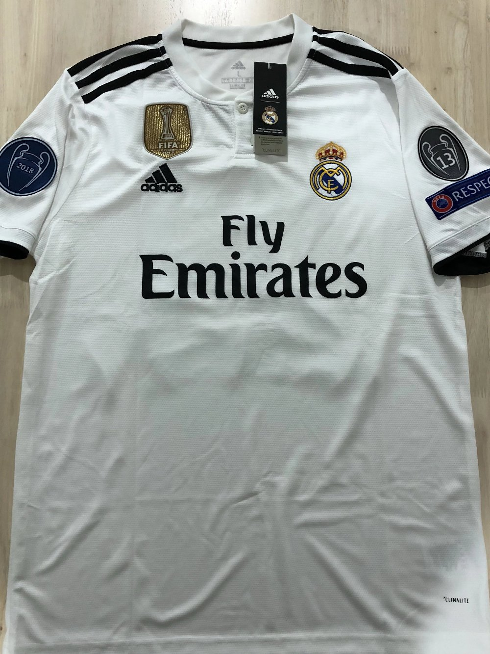 ebfd1eb4d Jersey Real Madrid Home 2018-2019 Full Patch UCL - Kaos Jersey Bola ...